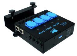 Mini-Pack 4x1kW - výstup 4x zásuvka 230V/16A-Mini-PACK je osazen stmívacími jednotkami, které umožňují připojení čtyř samostatně ovládaných světelných okruhů do zátěže 1 kW na jeden okruh. Řízení se provádí protokolem DMX 512. Silové výstupy na zásuvky nebo konektor Wieland 16 pol. Stmívací zařízení disponuje vstupním i výstupním XLR5 konektorem pro připojení řídícího DMX signálu. Jištění jednotlivých okruhů se provádí pomocí sklopojistek F5 A, výstupní úroveň jednotlivých kanálů je signalizována pomocí LED diod. Nastavení počáteční adresy se provádí DIP přepínačem. Stmívač je určen k zavěšení na konstrukci o průměru 40–60 mm (jevištní tah, hledištní konzoly apod.). Velkou výhodou zařízení je jednofázové napájení (připojí se na zásuvku 230 V/16 A) a pasivní chlazení výkonové části (bez použití ventilátoru). Použití pro zájezdové účely i pevné instalace pro malé divadelní scény, kluby, víceúčelová kulturní zařízení, TV studia.
