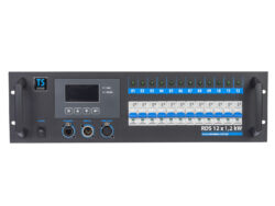 TSX rack 12x 1,2kW - 2x Wieland 16 pol.-To the equipment is possible to connect 12 circuits with the load of 1.2 kW per circuit. Power outputs to 16-pin multiconnectors Wieland or to 230 V sockets. Control is made with DMX 512 digital signal. It is intended for touring productions and also for permanent installations for small theatre scenes, clubs, multi-purpose cultural facilities, TV studios.