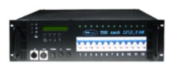 TSX rack 12x 2,3kW - 12x plug 230V/16A-To the equipment is possible to connect 12 circuits with the load of 2.3 kW per circuit. Power outputs to 16-pin multiconnectors Wieland or to 230 V sockets. Control is made with DMX 512 digital signal. It is intended for touring productions and also for permanent installations for small theatre scenes, clubs, multi-purpose cultural facilities, TV studios.