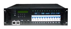TSX rack 12x 2,3kW - 12x zásuvka 230V/16A-Stmívací jednotky v 19'' provedení splňující současné nároky na funkci stmívacích zařízení i nejnovější technické normy. Moderní plně digitální řídící jednotka TSC 12 řízená dvěma procesory zajišťuje maximální komfort a jednoduchost obsluhy a zároveň umožňuje přístup k množství nastavitelných parametrů. Na displeji řídící jednotky je zobrazována aktuální výstupní hodnota všech kanálů, napětí jednotlivých fází a teplota celého systému. TSC 12 umožňuje např. výběr z 11 přednastavených křivek, přiřazení jakékoliv DMX adresy kterémukoliv stmívači (PATCH), nastavení teploty, která bude nadále udržována, blokování jednotky heslem apod. Určení pro zájezdové účely i pevné instalace pro malé divadelní scény, kluby, víceúčelová kulturní zařízení, TV studia.