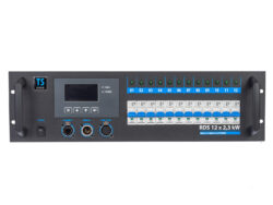 TSX rack 12x2,3kW - 2x Wieland 16 pol. - To the equipment is possible to connect 12 circuits with the load of 2.3 kW per circuit. Power outputs to 16-pin multiconnectors Wieland or to 230 V sockets. Control is made with DMX 512 digital signal. It is intended for touring productions and also for permanent installations for small theatre scenes, clubs, multi-purpose cultural facilities, TV studios.