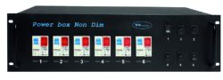 Power box Non Dim, circuit breaker C 16A-Production in models of 19 size and a height of 3U. It is used for switching on of 230 V/16 A sockets located on the back panel. Each circuit is protected with the circuit breaker C16A, the switching is made with a cut off switch (the cut off switch is used only for switching of the power contactor), signaling with indicator lamp. Of course it is possible to make a confi guration according to the customer's request.